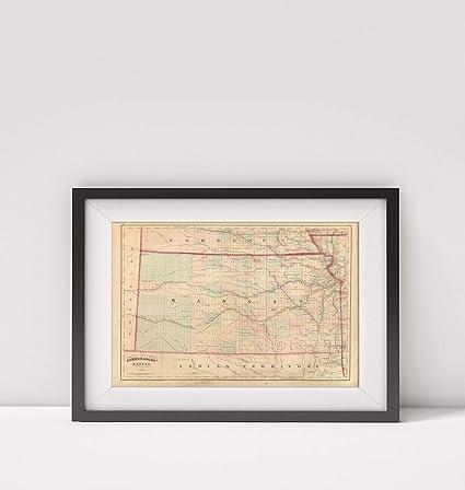 Amazon.com: 1875 Map of United States Kansas Title: Asher ...