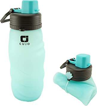 foldable silicone bottles for travel CUJO Collapsible water bottle 27oz flexible collapsable for easy storage portable /& lightweight for hiking cycling gym /& yoga