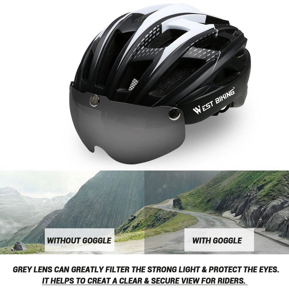 Cyclisme casque de v/élo pour homme femme r/églable casque de v/élo avec visi/ère magn/étique amovible Shield Masque de protection pour la s/écurit/é de montagne Route casques de v/élo