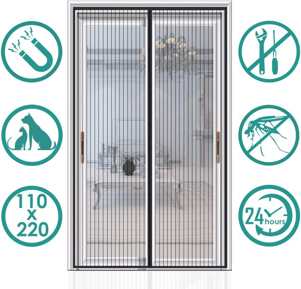 Auxmir Cortina Mosquitera Magnetica para Puertas, 110x220cm, con Malla Super Fina para Dejar Pasar el Aire Fresco, Cierre Automaticamente Evita Paso de Insectos, negro