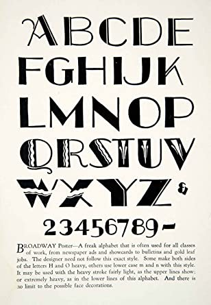 1928 Print Broadway Poster Typeface Decorative Graphic Design Letter Font