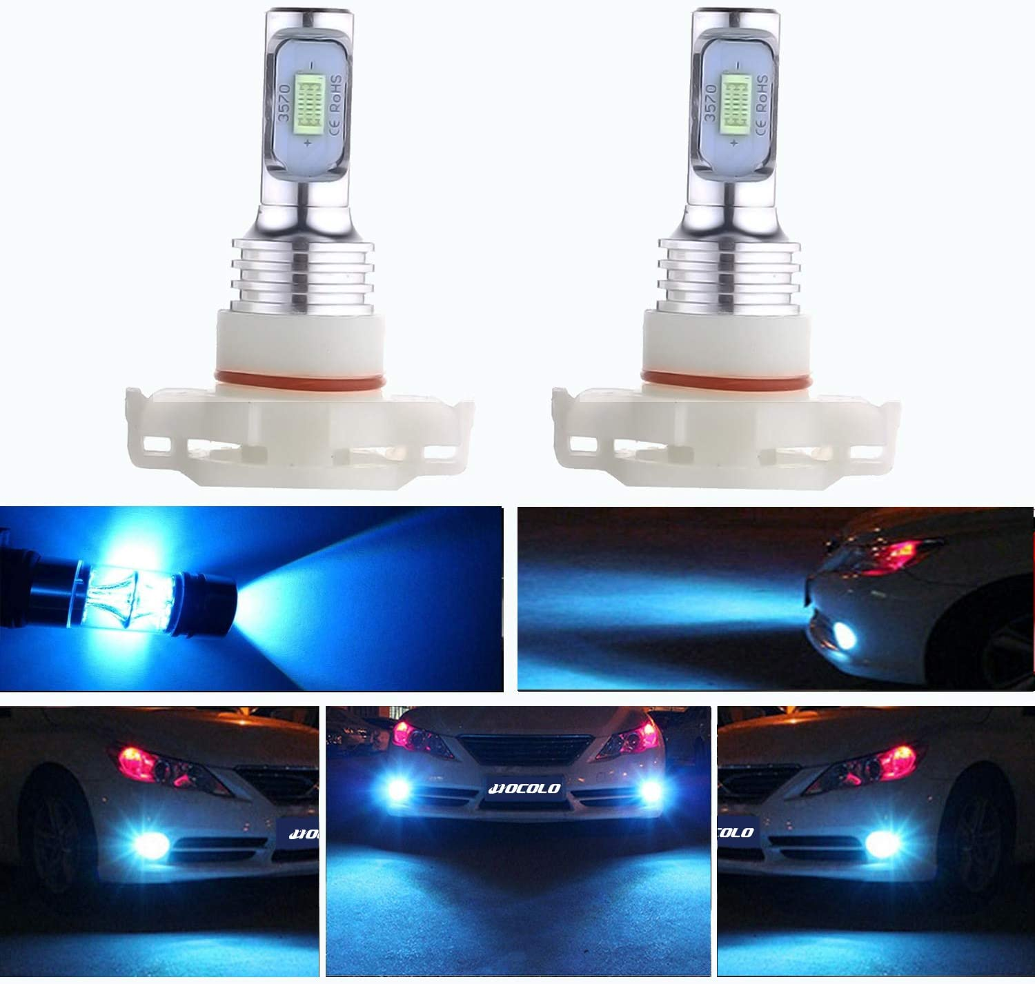HOCOLO 5202 PS24W H16(H16 Only Fit European Car!)LED Bulb Ice Blue 8000K Fog Driving Light DRL Daytime Running Lights 3570 Chips High Power Brighting LED Fog Lamp Bulbs(5202/PS24W_Fog,Ice Blue/8000K)