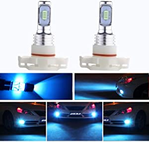 HOCOLO 5202 PS24W H16(H16 Only Fit European Car!)LED Bulb Ice Blue 8000K Fog Driving Light DRL Daytime Running Lights 3570 Chips High Power Brighting LED Fog Lamp Bulbs(5202/PS24W_Fog,Ice Blue/8000K)