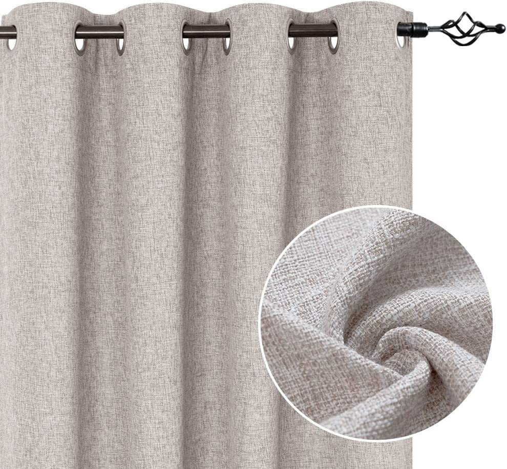 Beige Linen Textured Curtains for Living Room 84 Inches Long Flax Light Filtering Burlap Window Curtains for Bedroom Drapes Double Width