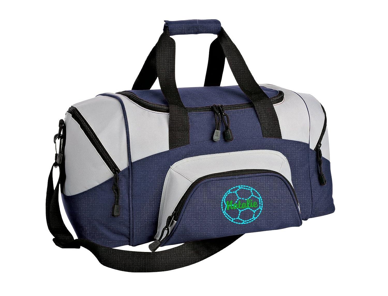 Soccer Personalized – カラーブロックスポーツSmall Duffle Bag B018OPU3BS  ネイビー/グレー