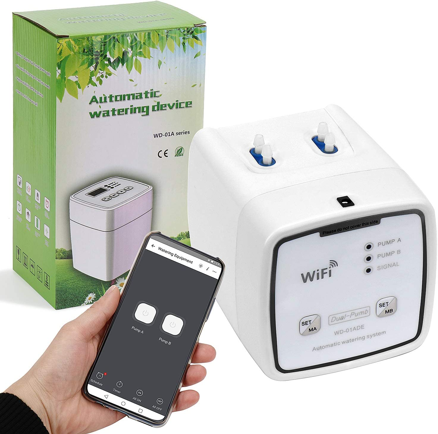 GOOWJUER WiFi Plant Watering Devices, Double Pump Automatic Watering System, Automatic Intelligent Watering Device with Programmable Timer for Indoor Gardening and Indoor Potted Plants