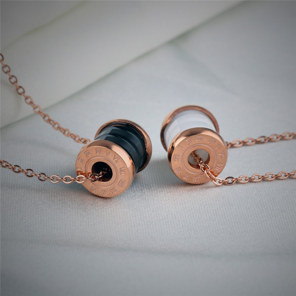 4 Colors HIJONES Womens Stainless Steel Ceramic Roman Numerals Charm Necklace Pendant