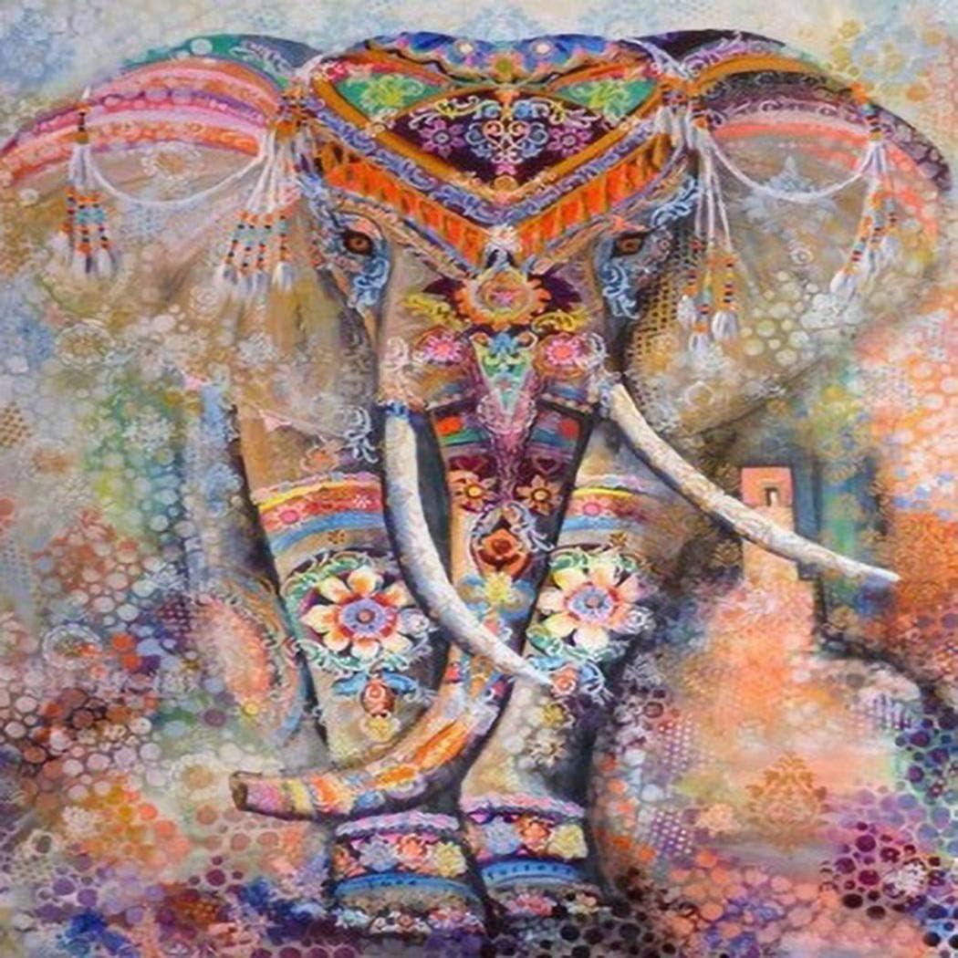 Xuprie DIY Elephant-pattern Rhinestone Painting Home Living Room Decor Cross-Stitch
