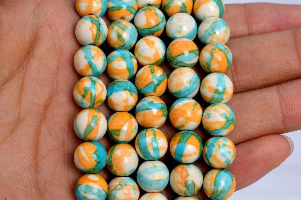 KapOD Beads 10MM Blue /& Orange Rain Flower Jade Beads Grade AAA Round Loose Beads 15.5 Loose Beads