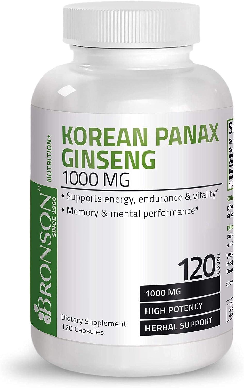 Bronson Korean Panax Ginseng 1000 mg Supports Energy, Endurance & Vitality + Memory and Mental Performance, 120 Capsules