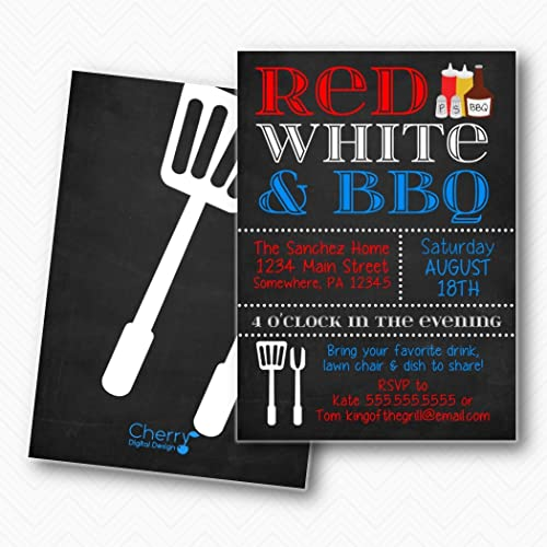 amazon com chalkboard red white blue 4th of july bbq party