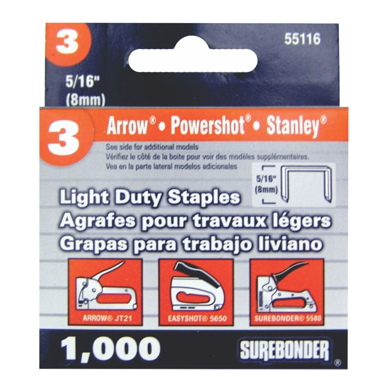 Light Duty, Chisel Point, 5/16 Arrow JT21 Type Staple, 1000/Box, 5 Pack by Surebonder