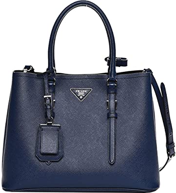 8dac94354ffcd8 Blue Prada Saffiano Cuir Double Medium Tote Bag: Handbags: Amazon.com