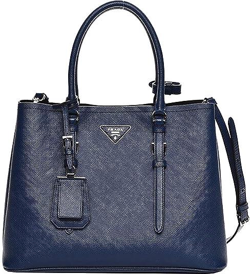 d6c6f0733431 Blue Prada Saffiano Cuir Double Medium Tote Bag  Handbags  Amazon.com