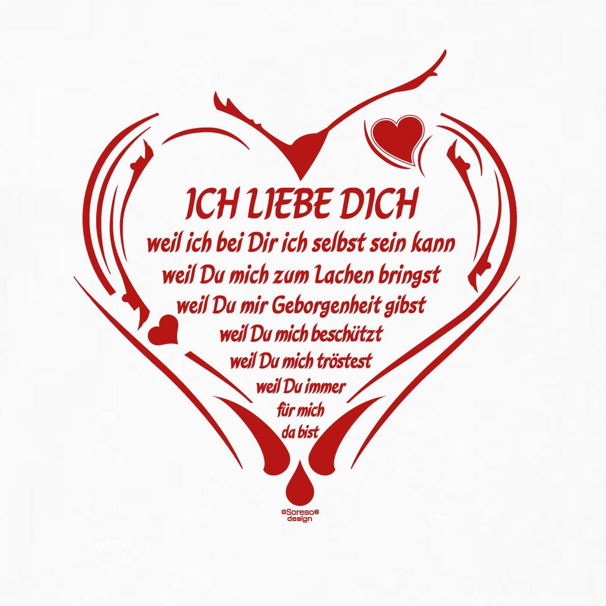 Soreso Design T Shirt Ich Liebe Dich Farbe Weiss Romantisches