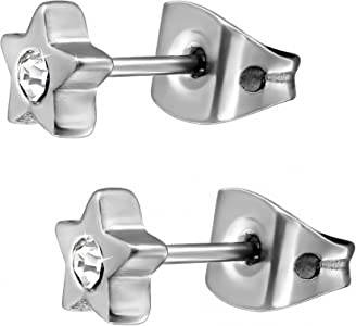 d794006b03e2 EYS Jewelry – Estrellas Mujer Pendientes titanio purpurina de cristales de color  blanco 5 mm Pendientes. EYS Jewelry – Estrellas Mujer Pendientes titanio ...