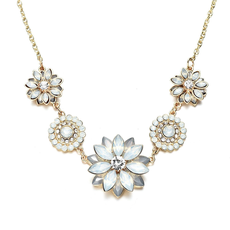 Onnea Gold Chain Fashion Rhinestone Lotus Statement Bib Pendant Necklace for Women (White)