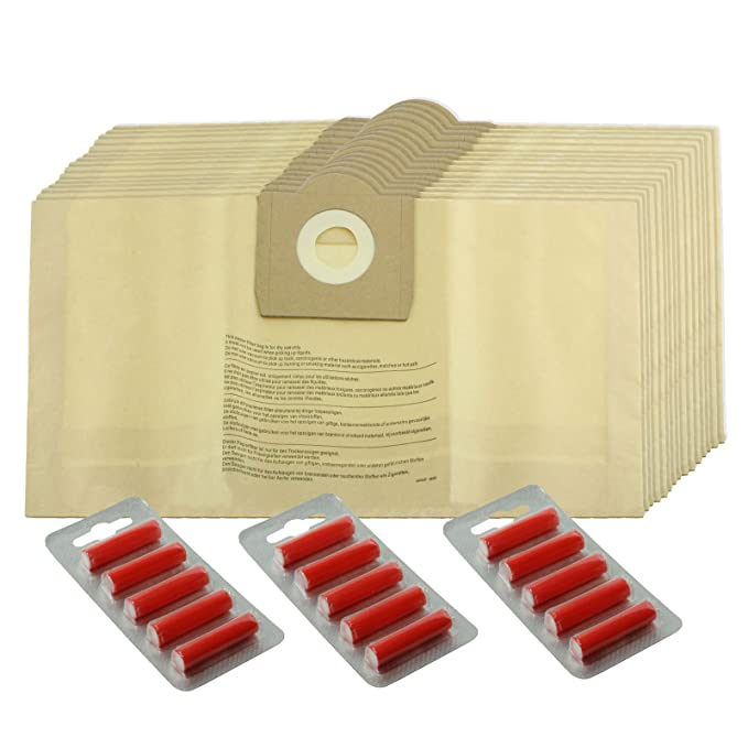 Spares2go fuertes bolsas de polvo para Parkside Lidl aspiradoras (paquete de 5, 10, 15, 20 + ambientadores) 5 Bags + 5 Fresheners