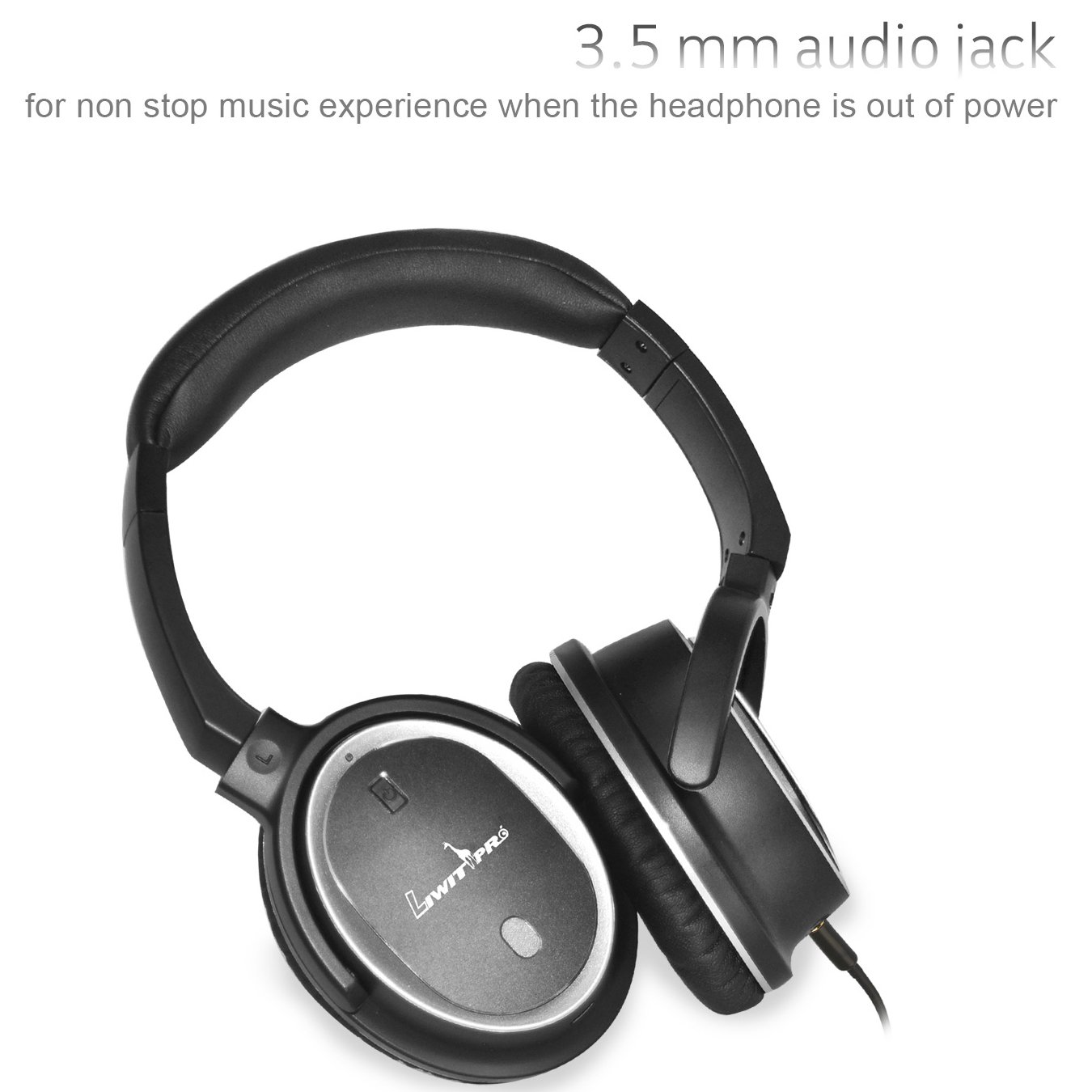 Active Noise Cancelling Bluetooth Headphone Liwithpro Wireless Over Ear Earphones with Microphone aptX Hi-Fi Deep Bass for Travel Work TV Computer Black