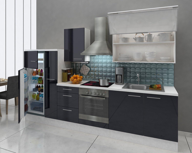 respekta Premium Instalación de Cocina Cocina 310 cm Blanco y Negro Brillante: Amazon.es: Hogar