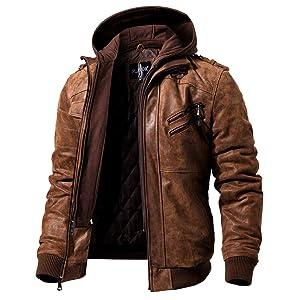 FLAVOR メンズ本革レザージャケット ライダースジャケット豚革 革ジャン 取り外し可能なフード付き