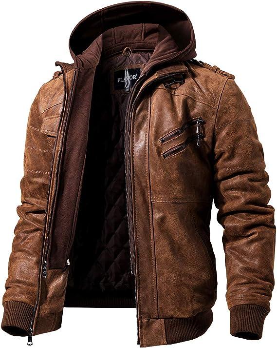 FLAVOR Chaqueta Cuero Hombre auténtico Capucha Desmontable: Amazon.es: Ropa y accesorios