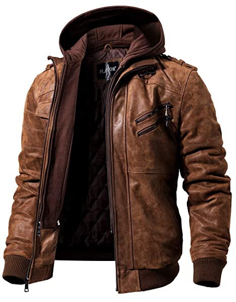 46749b83a FLAVOR Men Brown Leather Motorcycle Jacket with Removable Hood