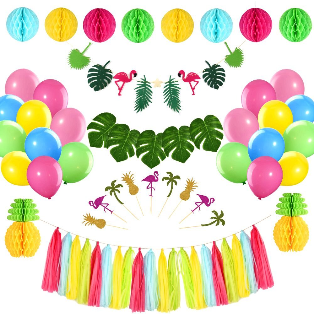 FEPITO Tropical Pink Flamingo Luau Hawaiian Party Decorations Kit Tropical Leaves Flamingo Banner Honeycomb Pineapple Ball for Jungle Beach Pool Moana Theme Summer Birthday Baby Shower Party Supplies