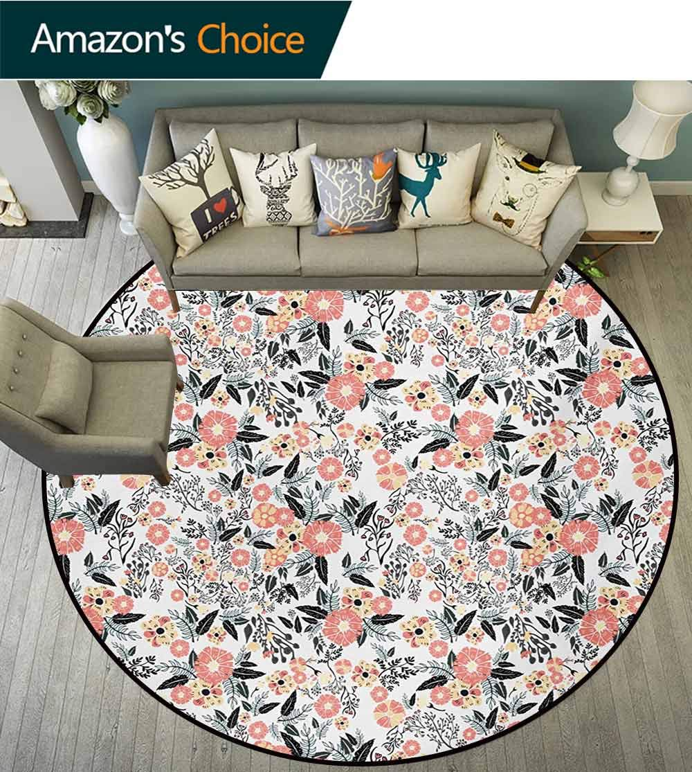 RUGSMAT Leaf Modern Machine Round Bath Mat,Abstract Garden Flowers Fresh Spring Nature Inspired Retro Style and Romantic Blossoms Non-Slip No-Shedding Kitchen Soft Floor Mat,Diameter-71 Inch by RUGSMAT (Image #2)