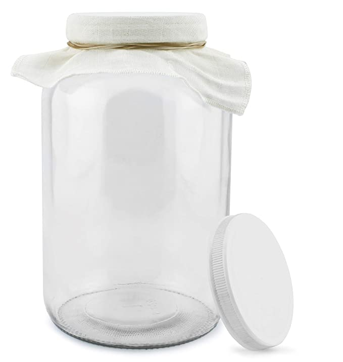 1 Gallon Glass Kombucha Jar w/Cotton Cloth Cover & Plastic Lid for Storage after Brewing