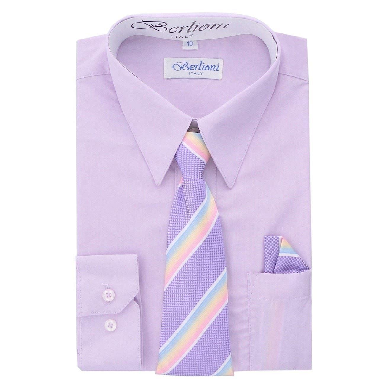 Berlioni Italy Kids Boys Dress Shirt with Tie & Hanky Long Sleeves Lilac