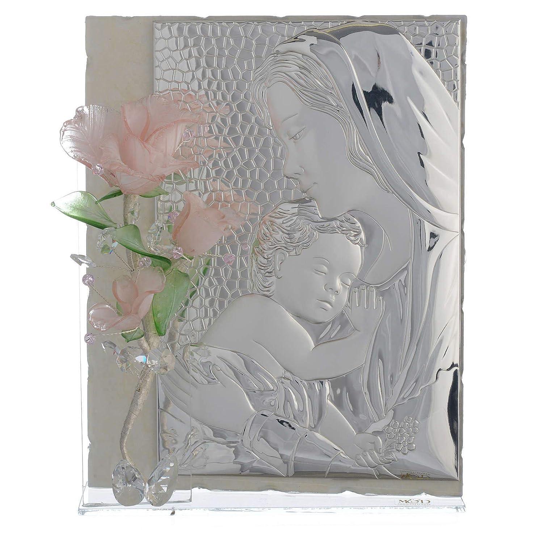 Holyart Quadro maternità Tre rosa Vetro Murano rosa 16x24 cm