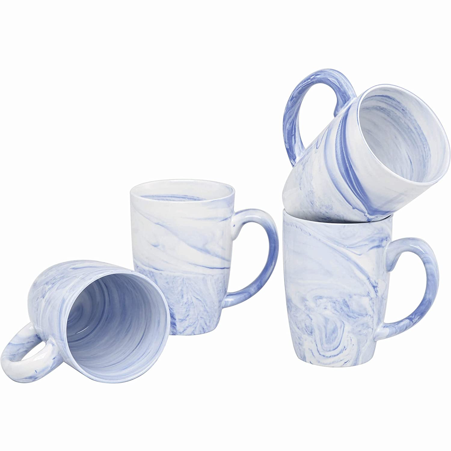Culver 16-Ounce Palermo Ceramic Mug Set of 4 (White and Blue Marbleized)