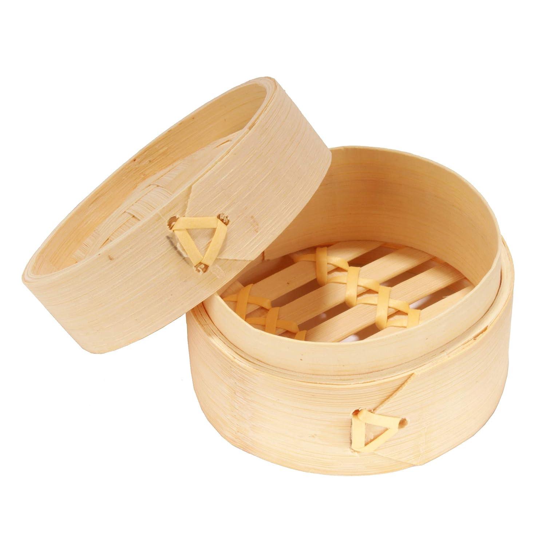 BambooMN 3 Inch Mini Bamboo Dim Sum Dumpling Steamer Basket for Dessert Party Favors Wedding Birthday Home Decorations Supplies, 10 Pieces