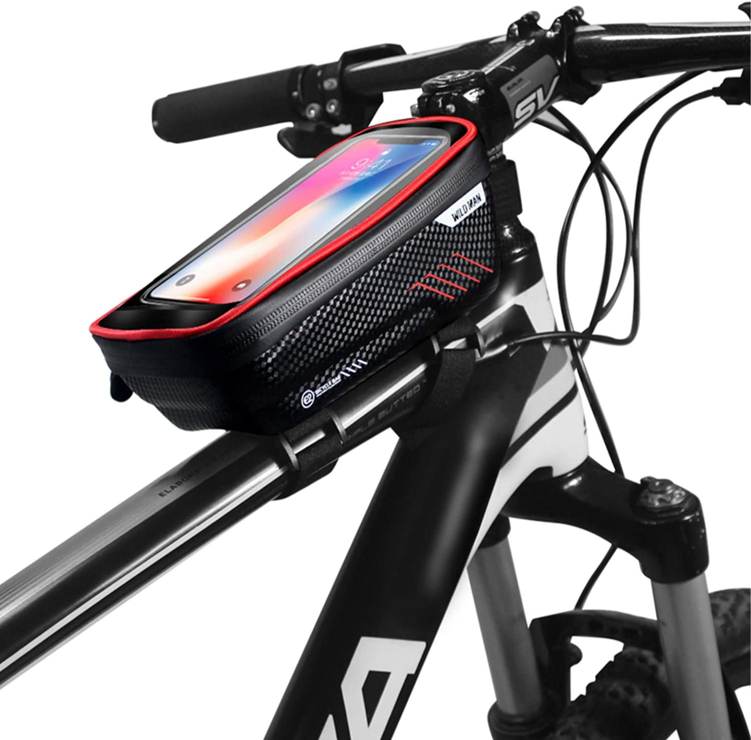 Bike Phone Front Frame Bag,Waterproof Bike Pouch Bag-Bicycle Top Tube Cycling Phone Mount with 6.5 Inch Touch Screen Bike Phone Holder Storage Bag for iPhone 7/8/11 Plus XS Max Galaxy S7 S8 S9