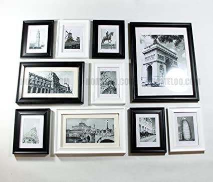 Amazon.com - Wooden Photo Picture Frame Wall Collage Set of 10 ...