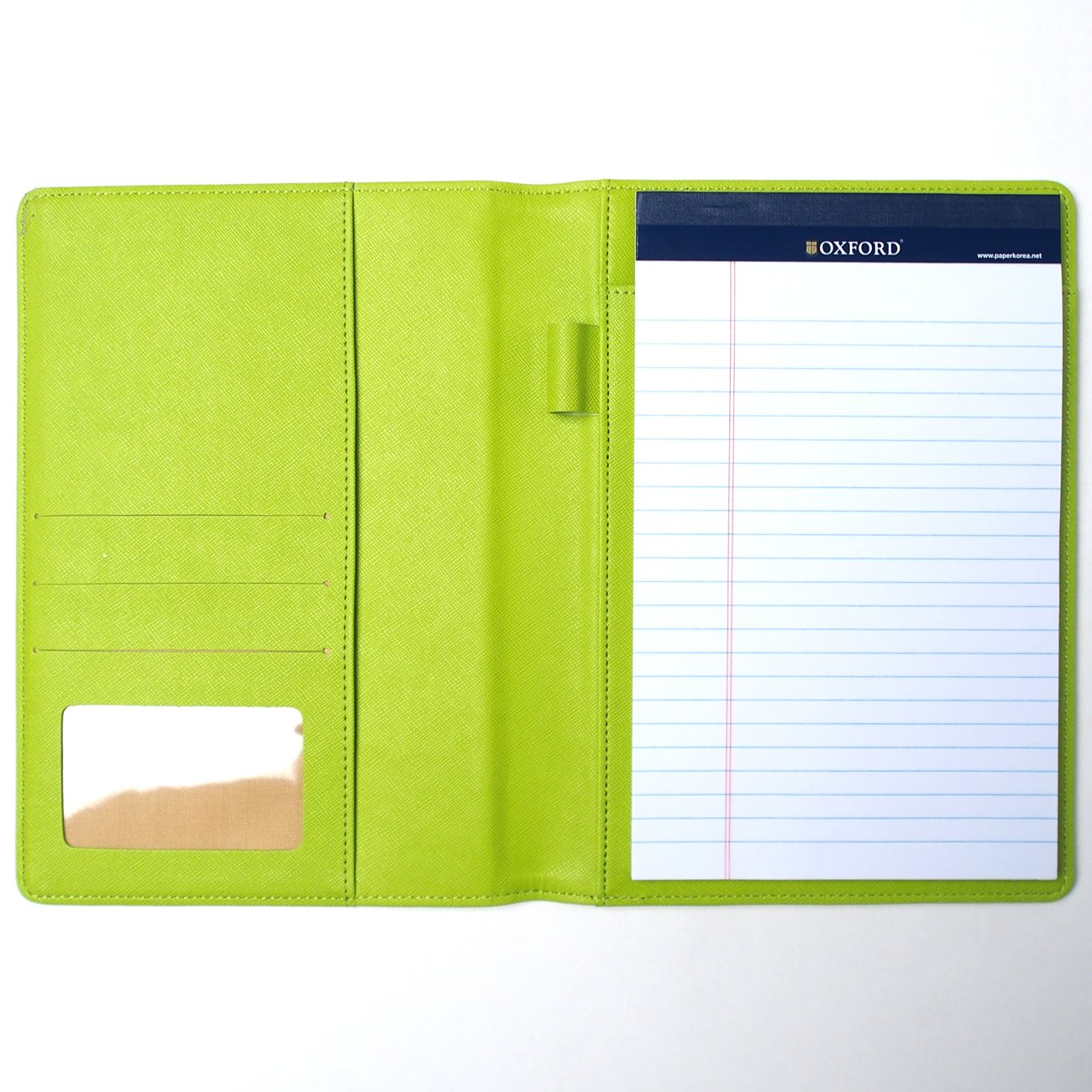 AHZOA Colorful 4 Pockets A5 Size Memo Padfolio S1, Including 5 X 8 inch Legal Writing Pad, Synthetic Leather Handmade About 6.3 X 8.7 inch Folder Clipboard Holder (Green)