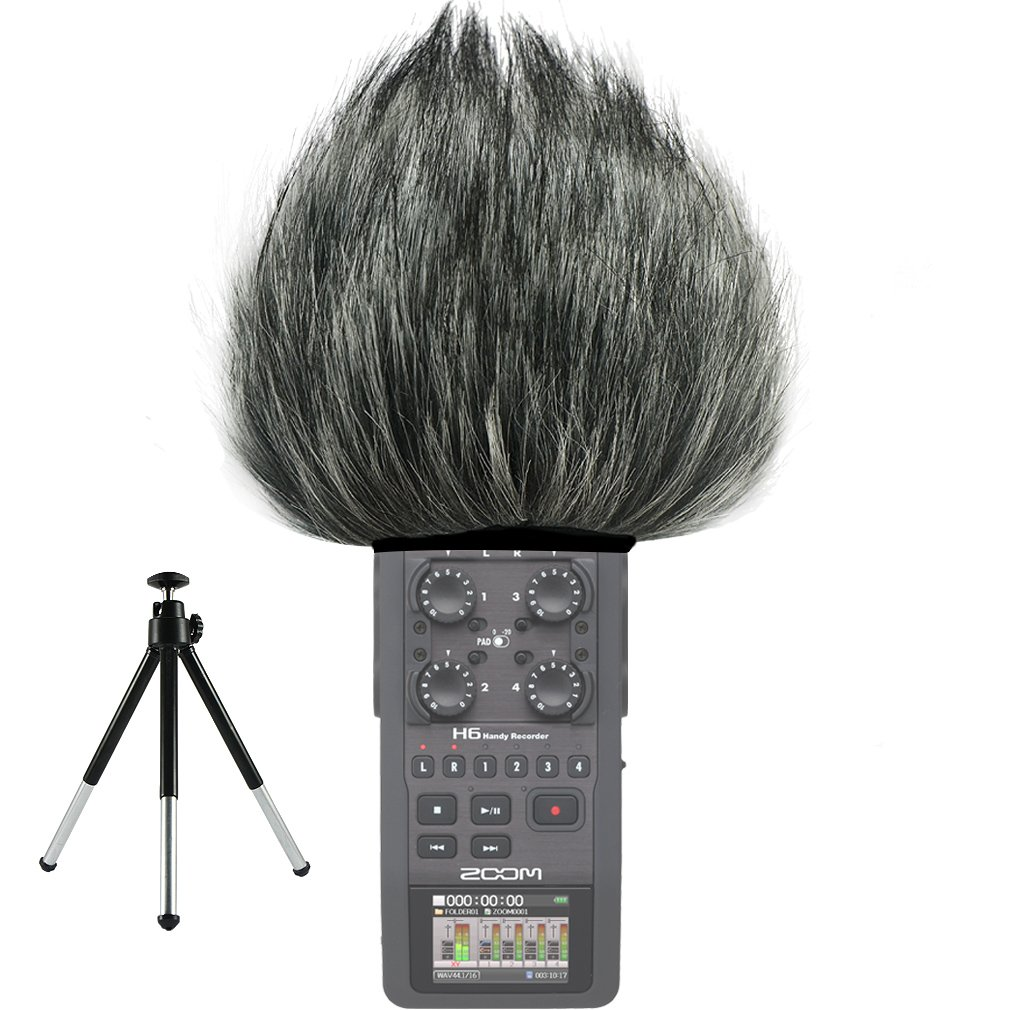 First2savvv TM-H6-D01 Outdoor Portable Digital Recorders Furry Microphone Mic Windscreen Wind Muff for Zoom H6 Recorder + mini tripod by first2savvv