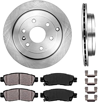 Brake Discs Rotors and Ceramic Pads For 2009-2017 Traverse Front Drilled Slotted
