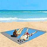 "Eastjing 82"" x 79"" Sand Free Beach Blanket Water Resistant & Sand Proof Beach Mat, Soft 70D Ripstop Nylon Pocket Picnic Blank"