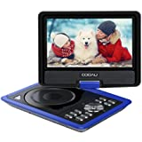 "COOAU 11.5"" Portable DVD Player with Swivel Screen, 5 Hour Rechargeable Battery, Support USB/SD Card, Direct Play in Formats MP4/AVI/RMVB/MP3/JPEG, Blue"
