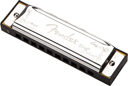 SHIPS FREE New Fender Blues Deluxe Harmonica w// Vented Plastic Case Key of F