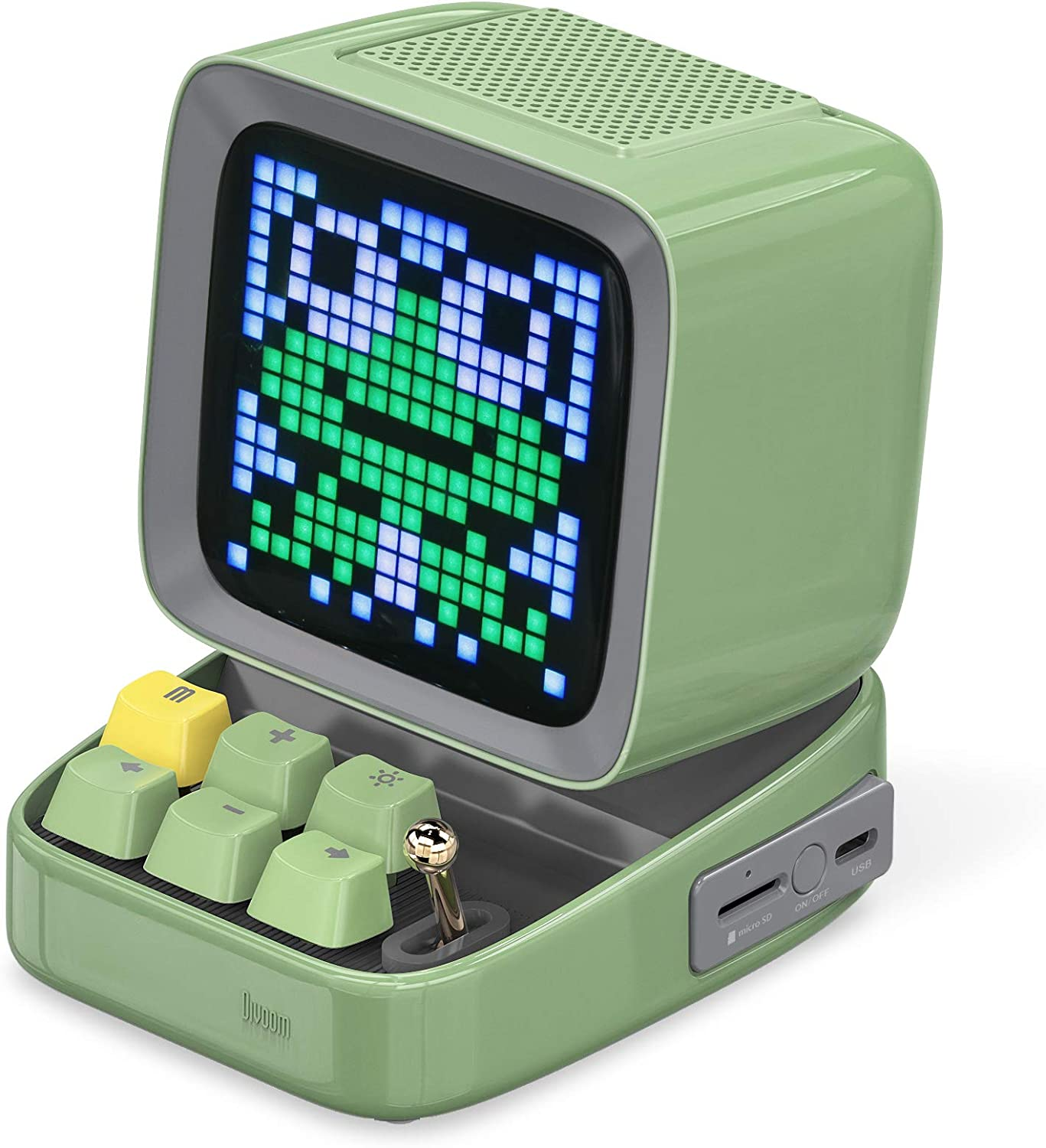 Divoom Ditoo Programmable Pixel Art LED Bluetooth Speaker Showing Clock Emoji DIY Design for Home Wedding Party Decoration with Wireless App Control (Green) …