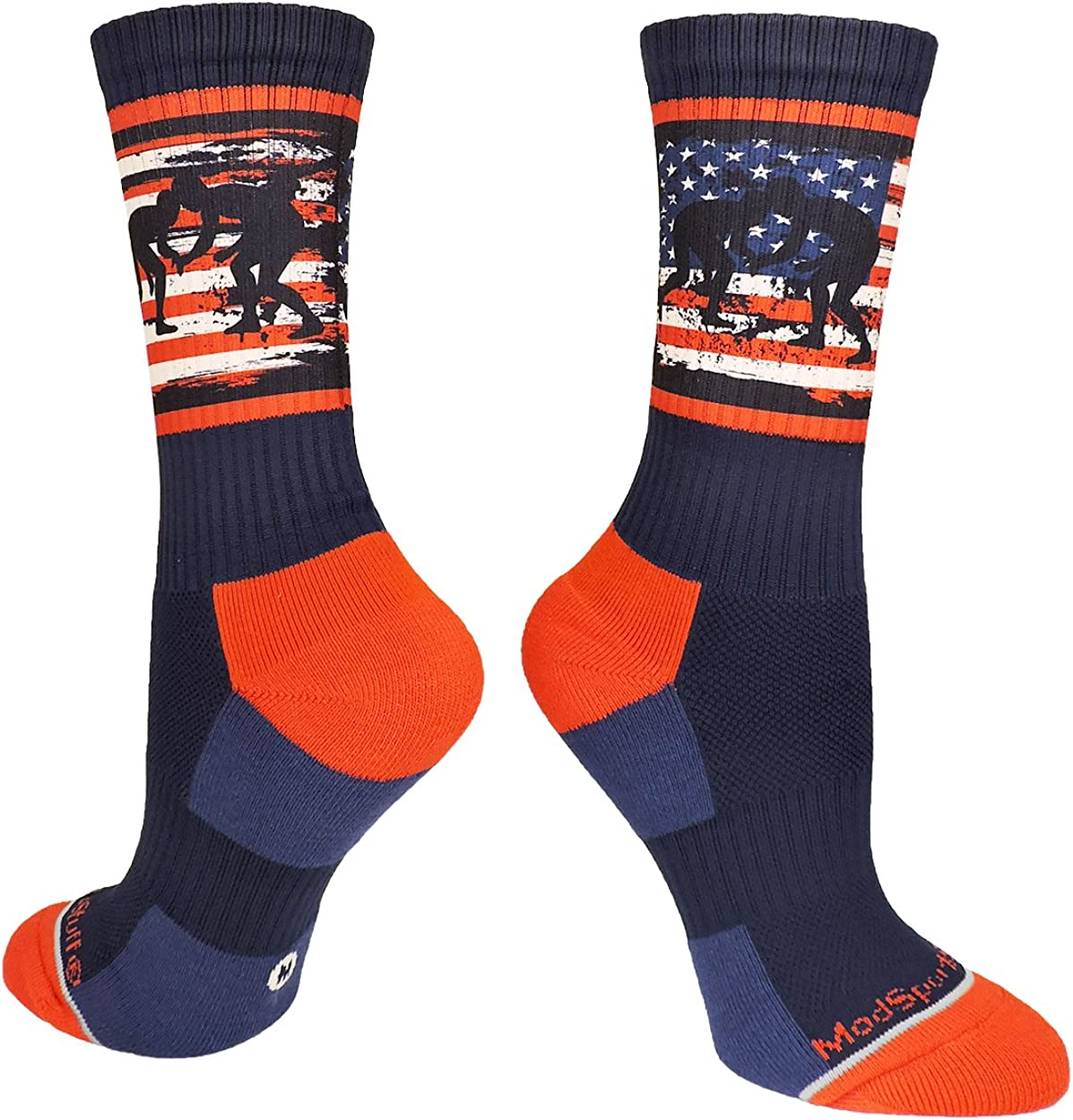 MadSportsStuff USA Flag Fighting Wrestlers Athletic Crew Socks: Clothing