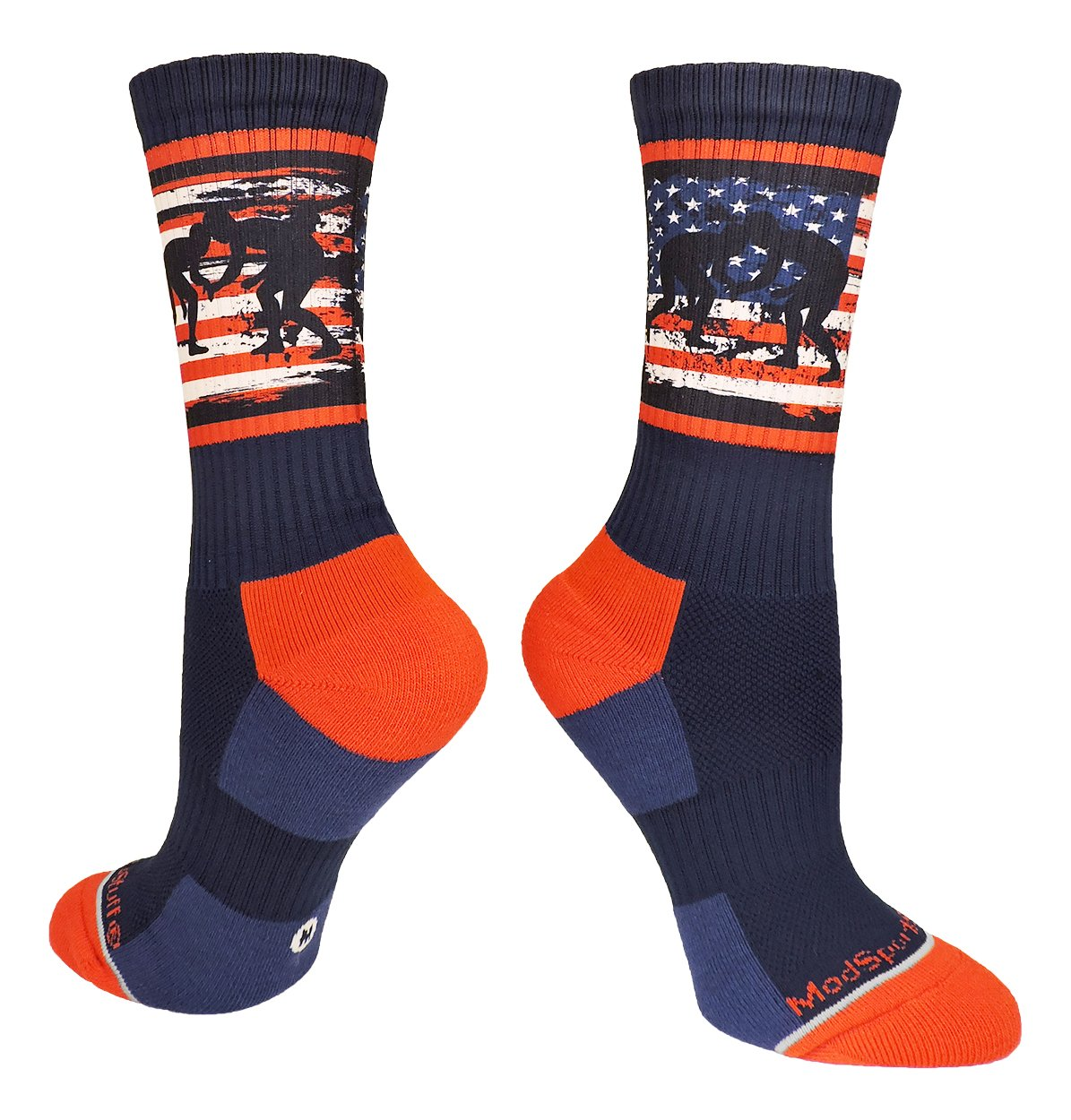 MadSportsStuff USA Flag Fighting Wrestlers Crew Socks (Navy/Red/White, Large)