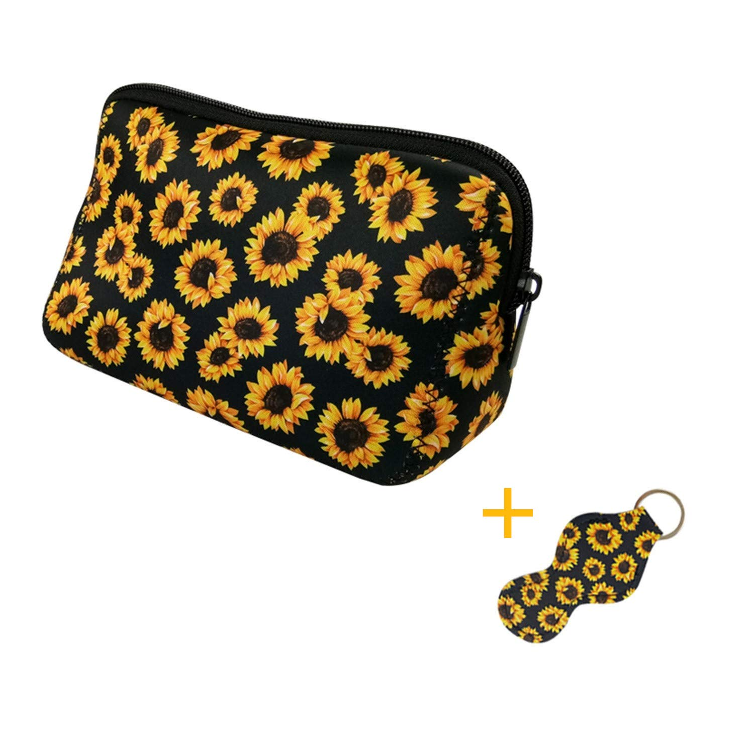Sunflower Cosmetic Bag Large Waterproof Soft Neoprene Zipper Travel Portable Toiletry Makeup Organizer Case With Lip Balm Chapstick Holder Keychain