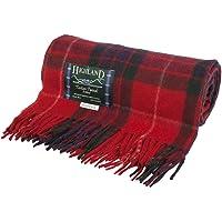 Highland Scottish Wool Blend Tartan Tweed Extra Warm Blanket - FRASER RED - One Size