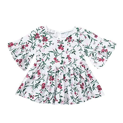 b532ca9d354ab Amazon.com: Lurryly Baby Girls Infant Toddler Kids Clothes Floral ...