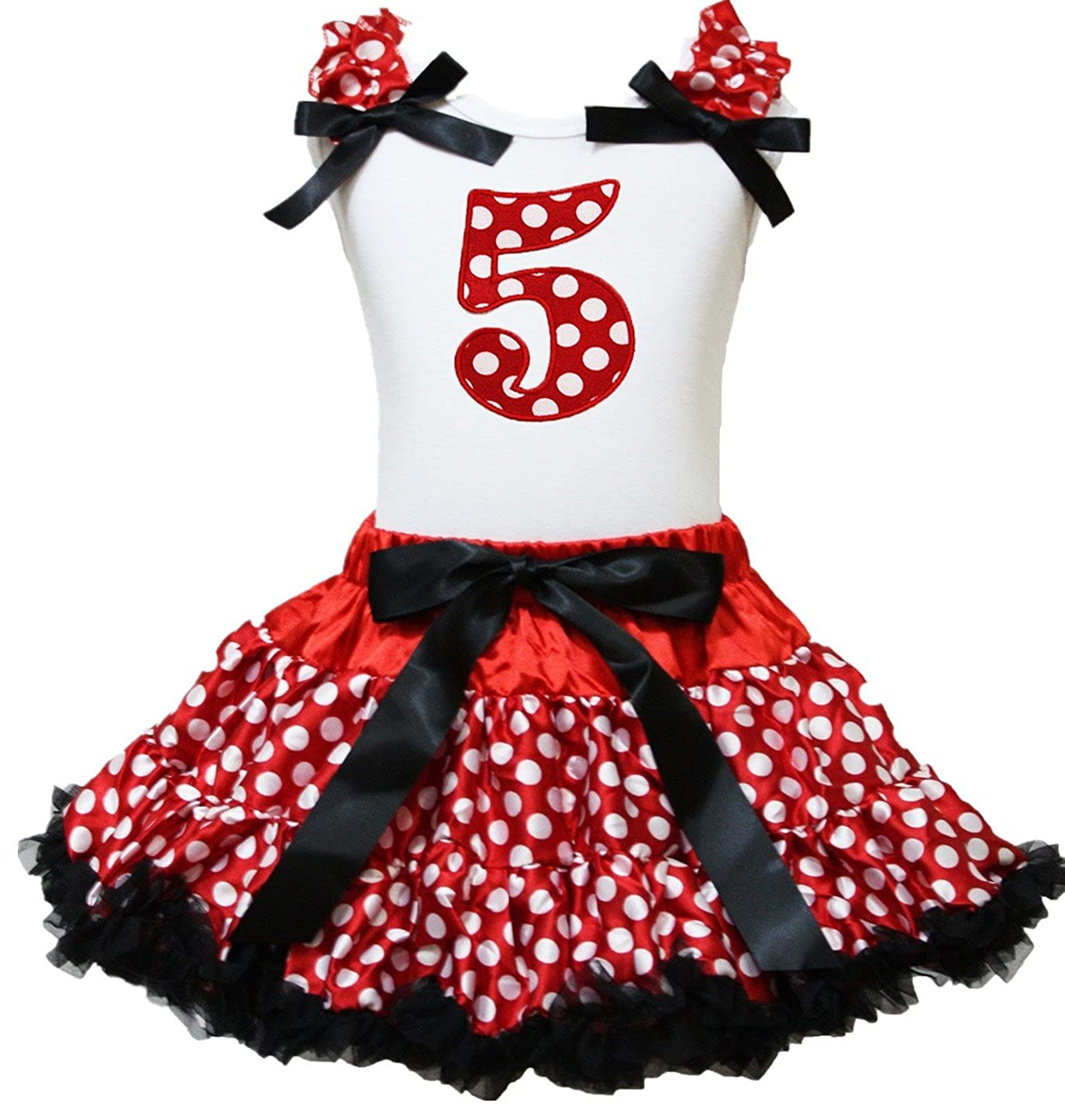 Petitebella 5th Birthday White Shirt Red Polka Dots Skirt Outfit 1-8y