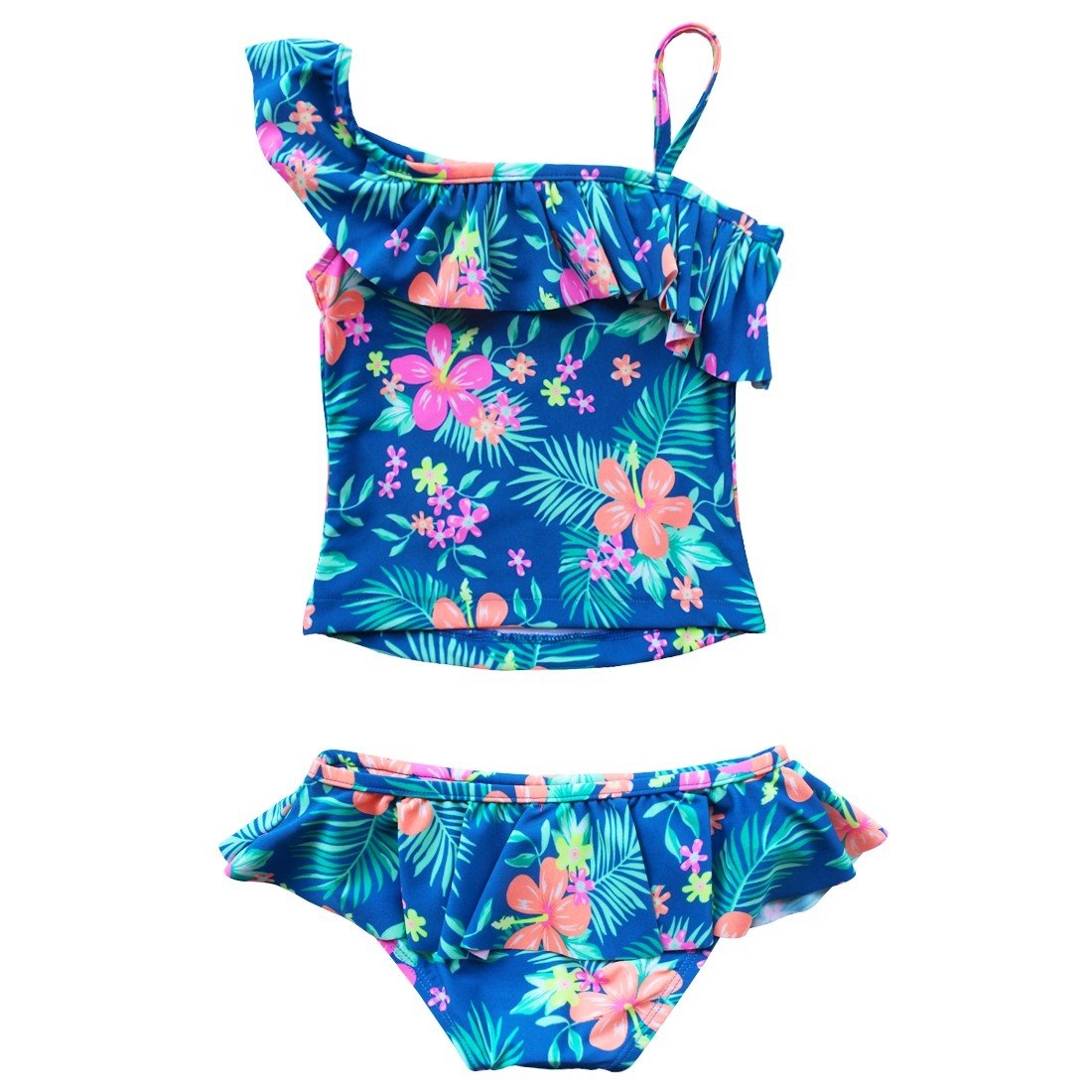 TiaoBug Kids Girls Beach Sport Strap Tankini 2-Piece Swimsuit Bikini Cover-Up Sets Tops with Bottoms Skirt